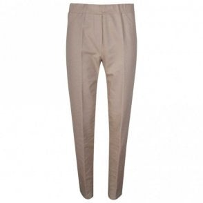 Latte Elasticated Waist Straigh Leg Trousers