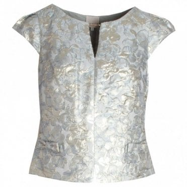 Embossed Capped Sleeve Evening Top
