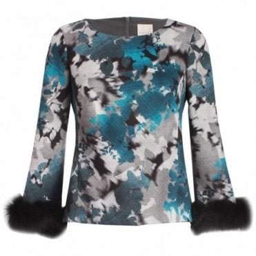 Embossed Print Top With Fur