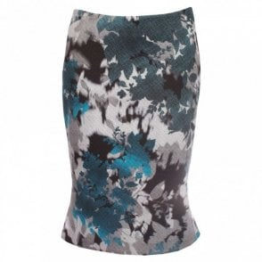 Embossed Printed Fitted Fishtail Skirt
