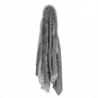 Faux Fur Trim Grey Wool Scarf