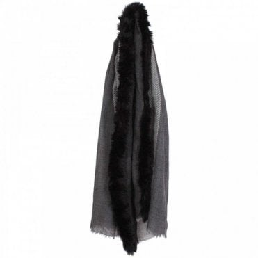 Faux Fur Trim Wool Scarf