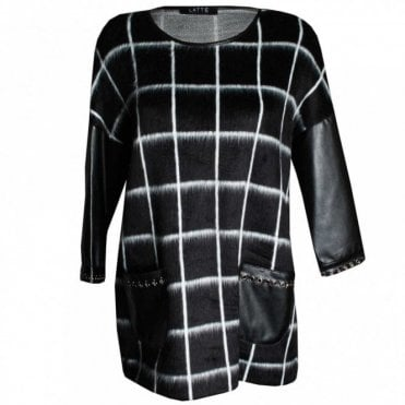 Faux Leather Long Sleeve Check Top