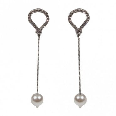Nour London Fine Chain Pearl Drop Earrings