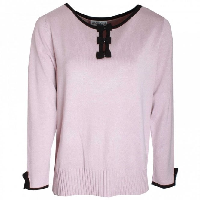 Passioni Fine Knit Bow Detail Jumper