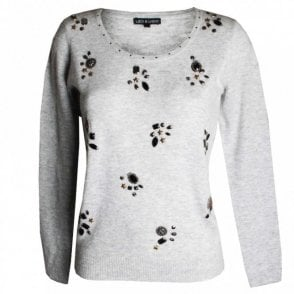 Fine Knit Long Sleeve Jumper With Jewles