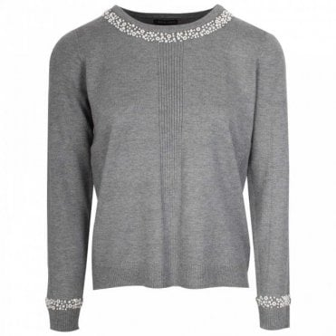 Leo Guy Fine Knit Pearl Trim Grey Jumper