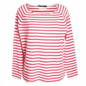 Oui Fine Knit Stripe Long Sleeve Top