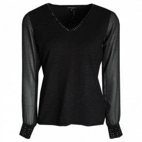 Fine Knit V Neck Jumper Sheer Sleeves