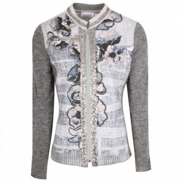 Just White Fine Knit Zip Up Grey Floral Jacket