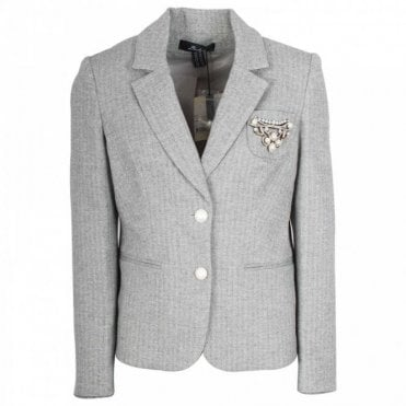 Fitted Blazer Jacket With Pearl Buttons