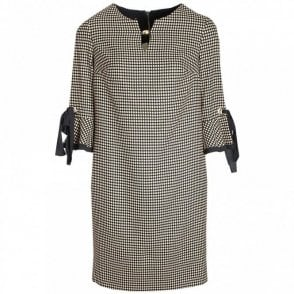 Flared Cuff Polka Dot Shift Dress
