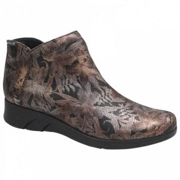 Mephisto Flat Floral Ankle Boot With Side Zip