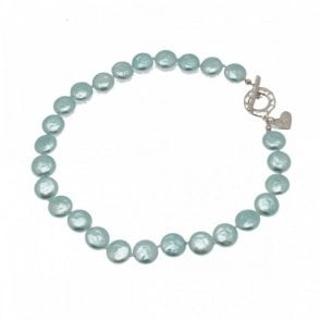 Nour London Flat Pearls Necklace Heart Detail