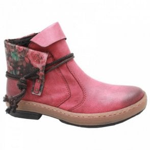 Rieker Flat Red Ankle Boot With Floral Turnover