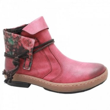 Flat Red Ankle Boot With Floral Turnover