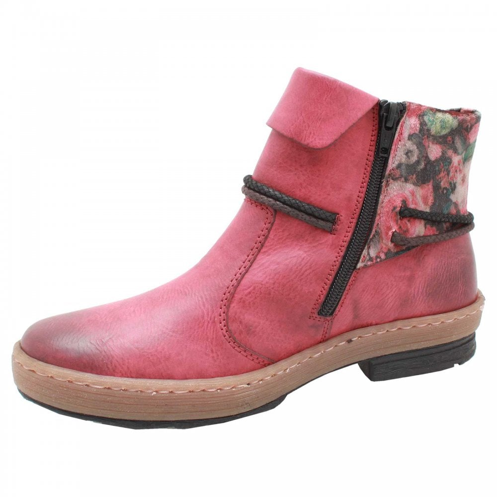 89c49018bce6 Flat Red Ankle Boots With Floral Turnover By Rieker At Walk In Style