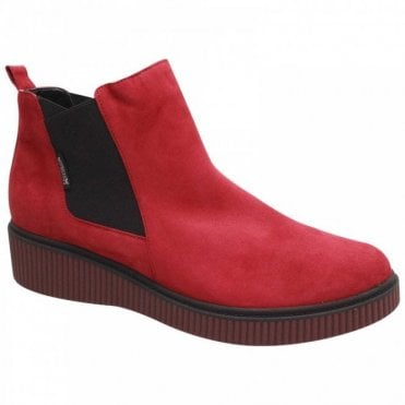 Mephisto Flat Red Suede Leather Chelsea Boots
