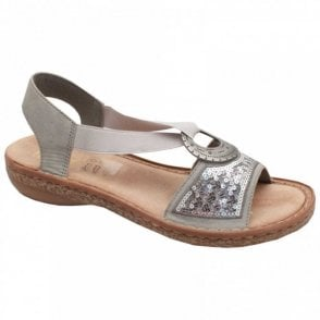 Flat Sequin Elasticated Sandal