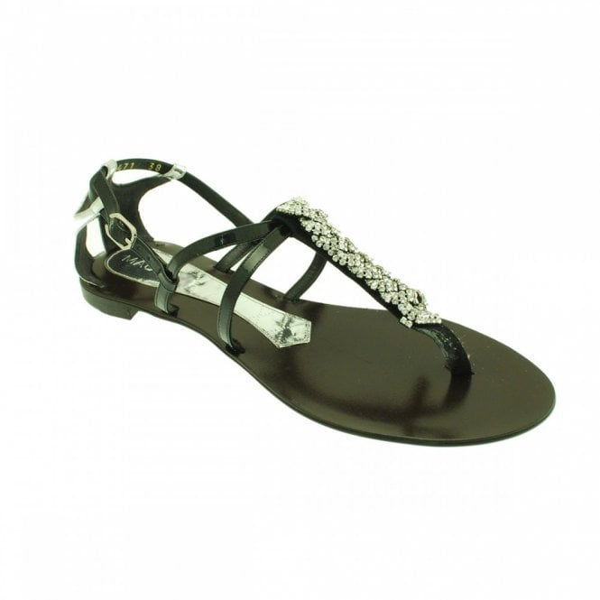 Magrit Flat T-post Sandal With Diamante Detail