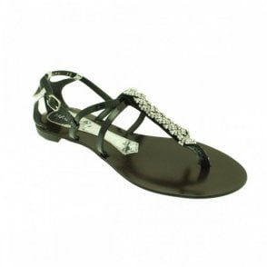 Flat T-post Sandal With Diamante Detail