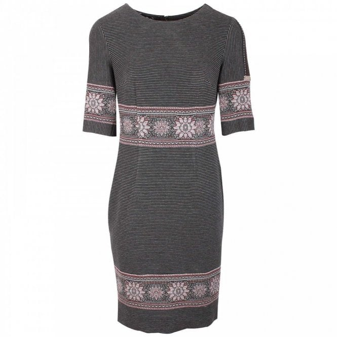 Badoo Floral Edge Long Sleeve Shift Dress