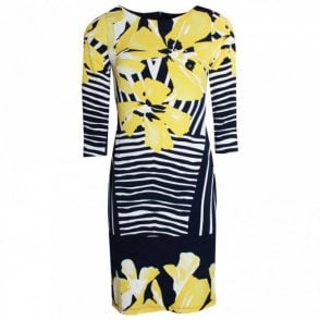 Floral Print 3/4 Sleeve Shift Dress