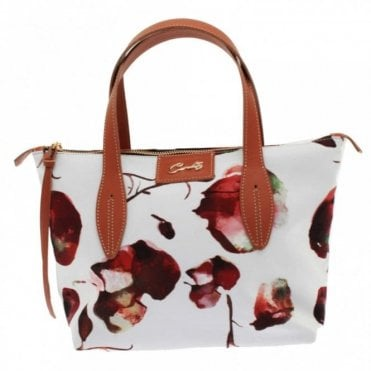 Cats Floral Print Grab Handle Handbag