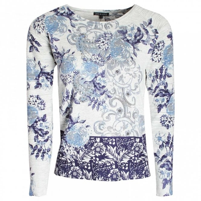 Leo Guy Floral Print Knitted Long Sleeve Jumper
