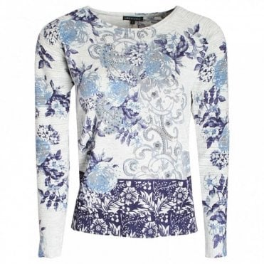 Floral Print Knitted Long Sleeve Jumper