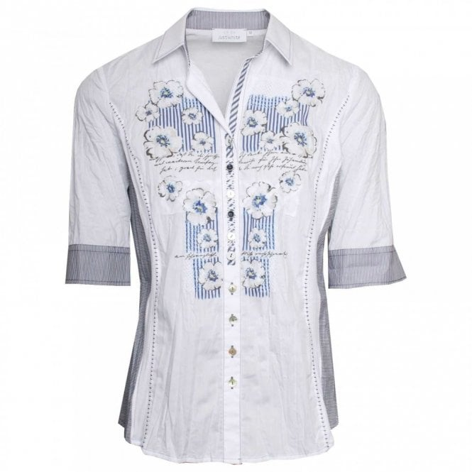 Just White Floral Print Short Sleeve Shirt