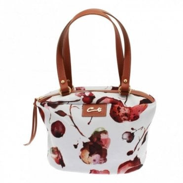 Cats Floral Print Shoulder Handle Handbag