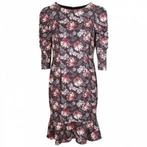 Badoo Floral Printed Dress With Ruched Sleeve
