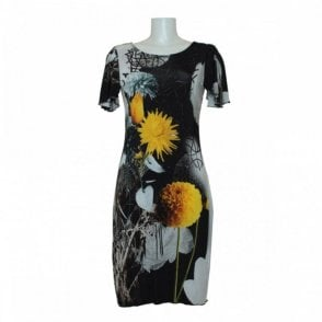 Flower Print Dress With Flared Sleeve