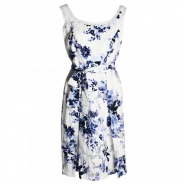 Foral Print A Line Strap Dress With Belt