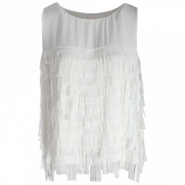 Latte Fringe Textured Sleeveless Top
