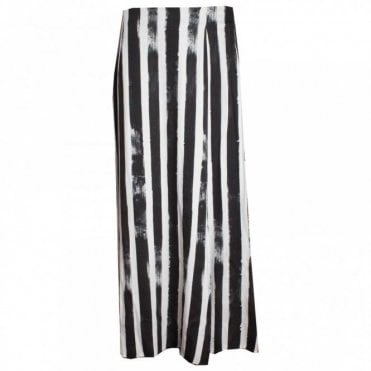 Full Length Striped Skirt With Knee Slit