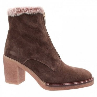 Fur Lined Front Zip Ankle Boot