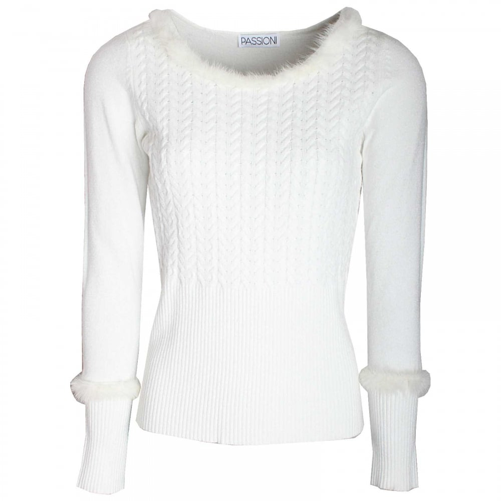 Long Sleeve Fur Cuff Knitted Jumper By Paola Collection At: Fur Trim Long Sleeve Knitted Jumper By Passioni At Walk In