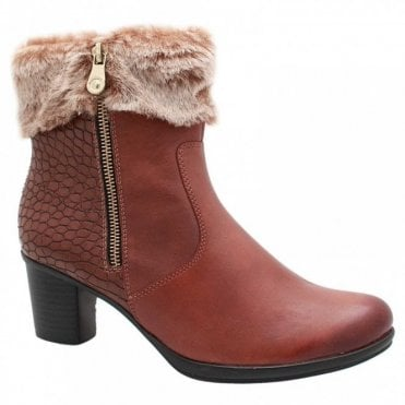 Fur Trim Low Heel Ankle Boot
