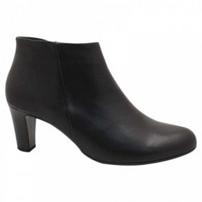 Black Leather Low Heel Ankle Boots
