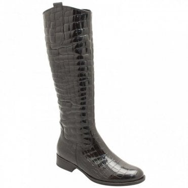 Long Boots With Faux Reptile Print