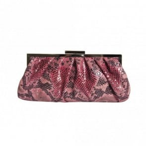 Gathered Faux Snake Clutch