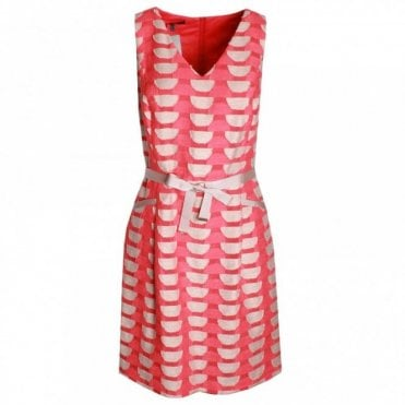 Geomertic Print V-neck Sleeveless Dress