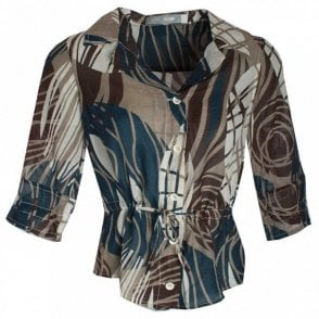 Jocavi Geometric Pattern Tie Sleeve Blouse
