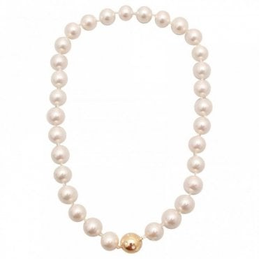 Glass Pearl Magnetic Clasp Necklace