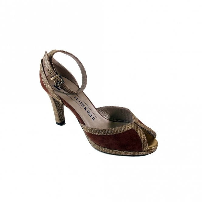 Peter Kaiser Gold/brown Suede Ankle Strap