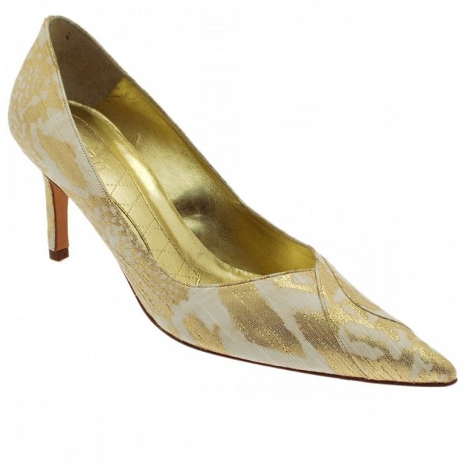 Magrit Gold/cream High Heeled Court Shoe