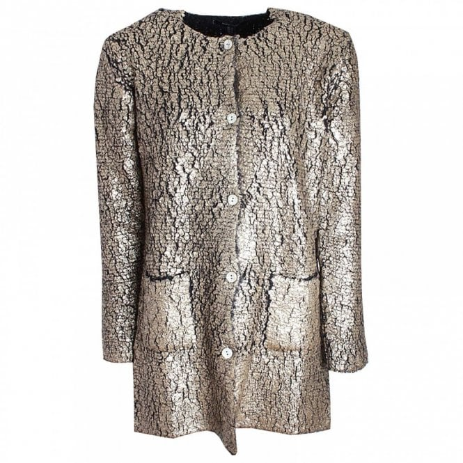 Marie Mero Gold Long Sleeve Crackle Effect Jacket