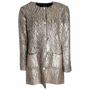 Gold Long Sleeve Crackle Effect Jacket